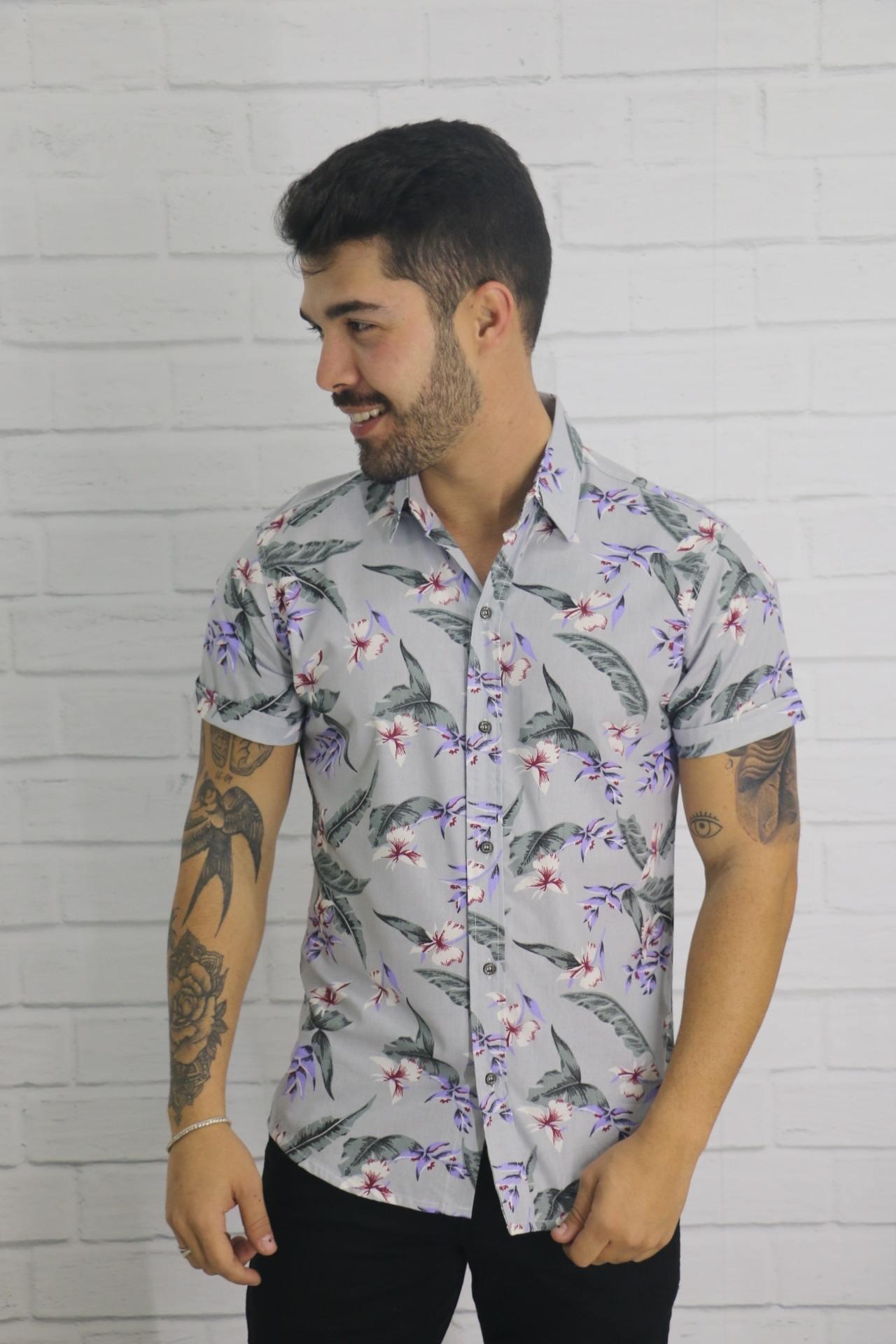 Camisa Manga Curta Floral Diully Modas