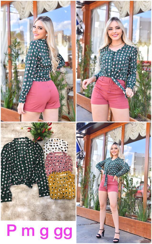 Camisa poá colorida- Lu Moda Fashion