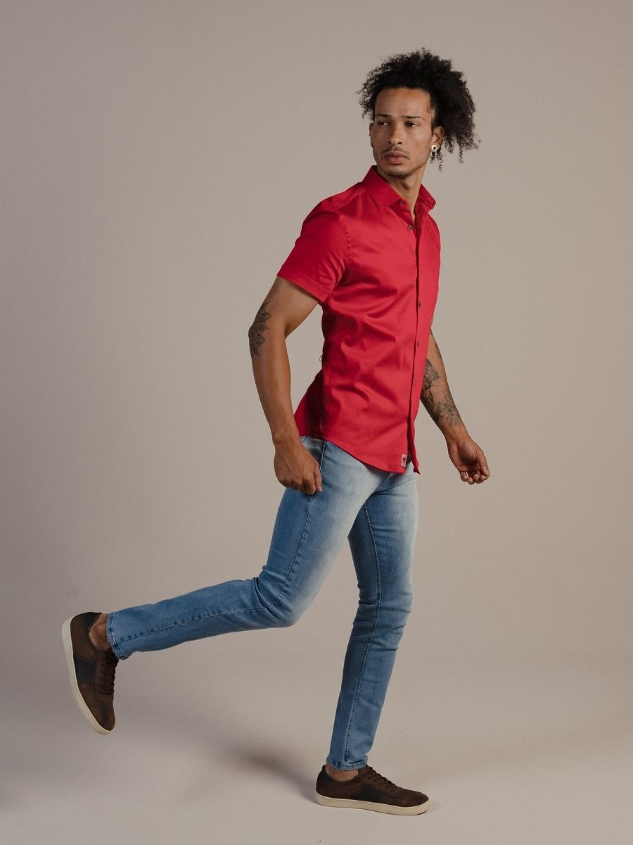 Camisa Vicenza Masculina Manga Curta Acetinada Vermelha