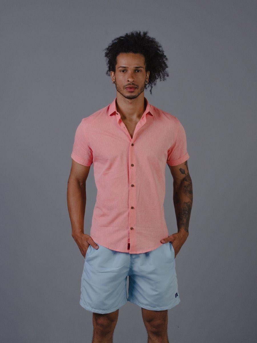Camisa Vicenza Masculina Manga Curta em Linho Coral