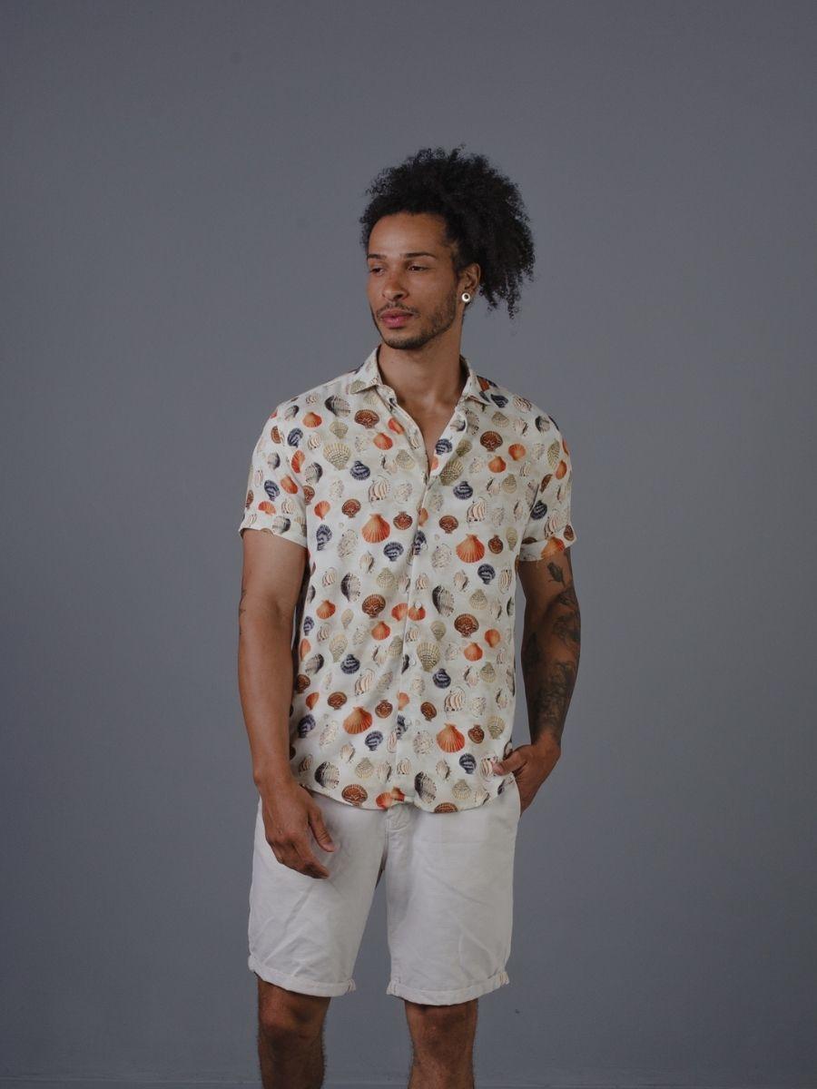 Camisa Vicenza Masculina Manga Curta Viscose Conchas