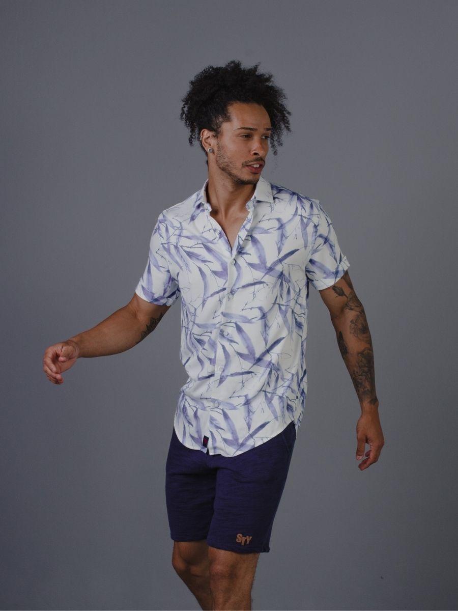 Camisa Vicenza Masculina Manga Curta Viscose Floral Azul