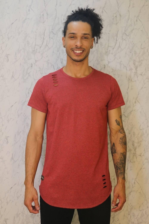 Camiseta Básica Long Line Cereja Roma Outlet