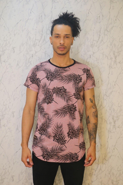 Camiseta Básica Long Line Estampa Floral Marsala Roma Outlet