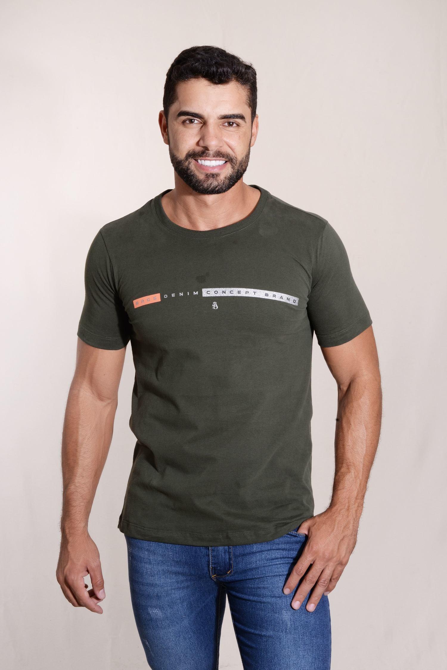 Camiseta Concept Malha 100% Algodão Silk com Detalhes em Cromo Burguês