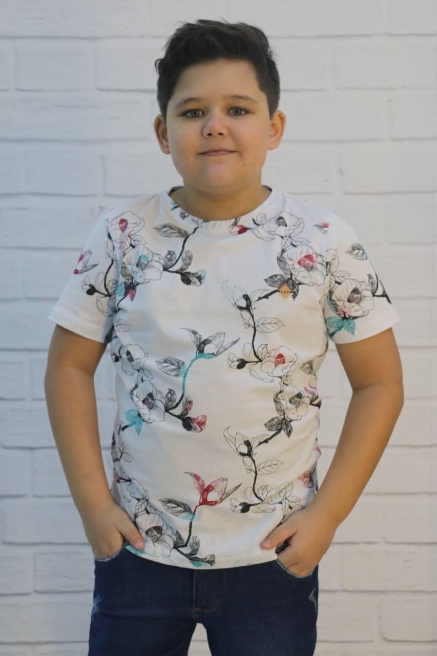 Camiseta Estampada Algodão Floral LAF