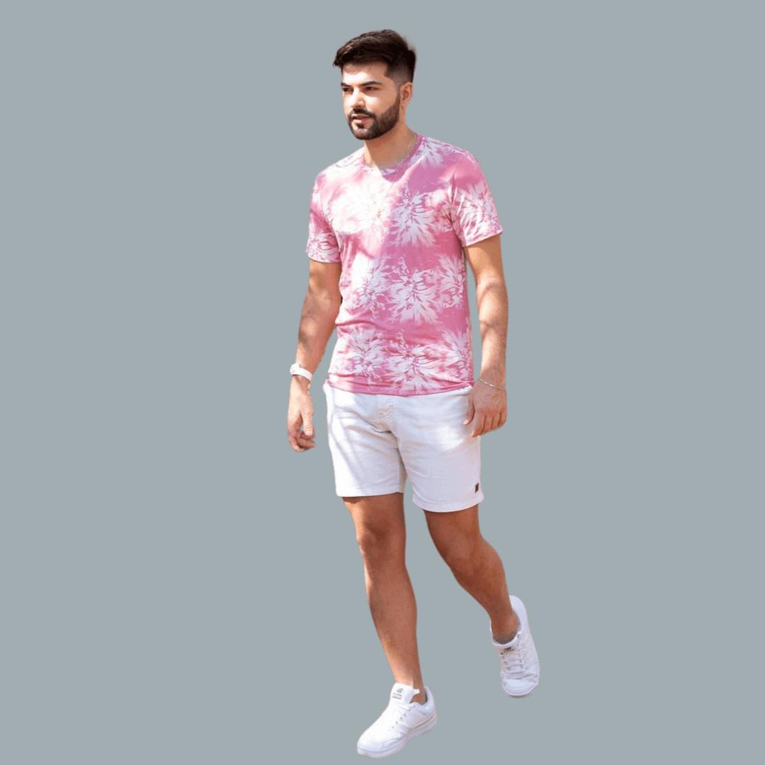 Camiseta Gola O Rosa Estampa Tie Dye Manguu