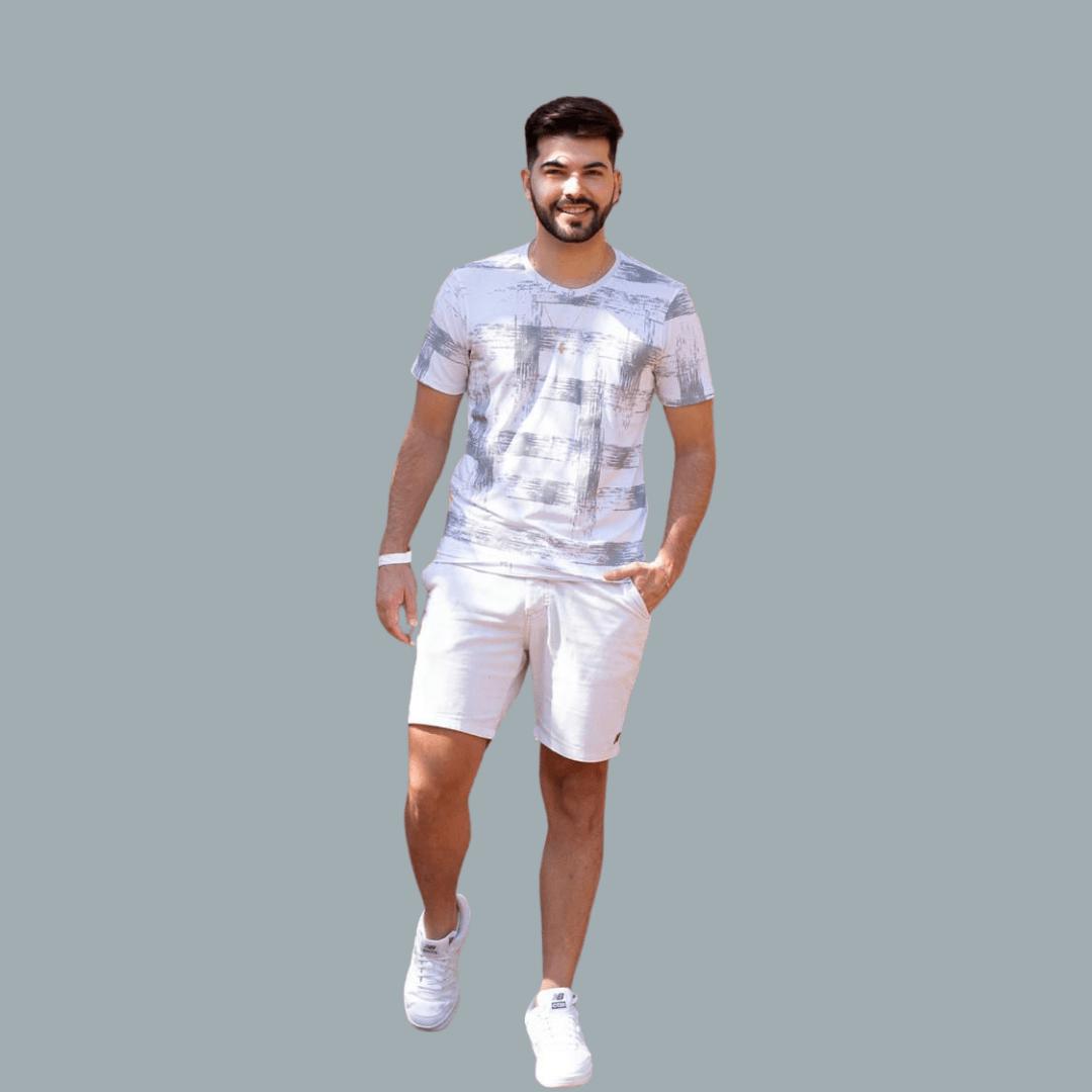 Camiseta Gola O Branca Estampa Pincela Manguu