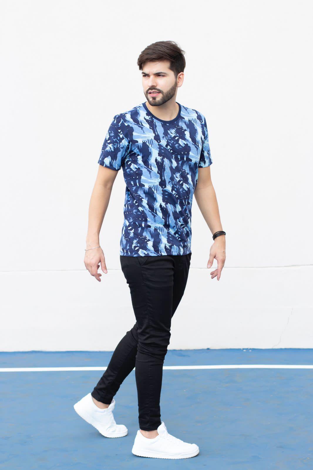 Camiseta Gola O Camuflada Azul Manguu