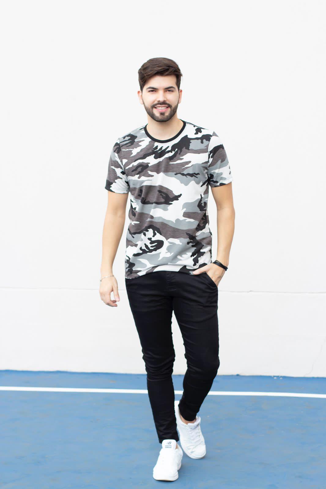 Camiseta Gola O Camuflada Cinza Manguu