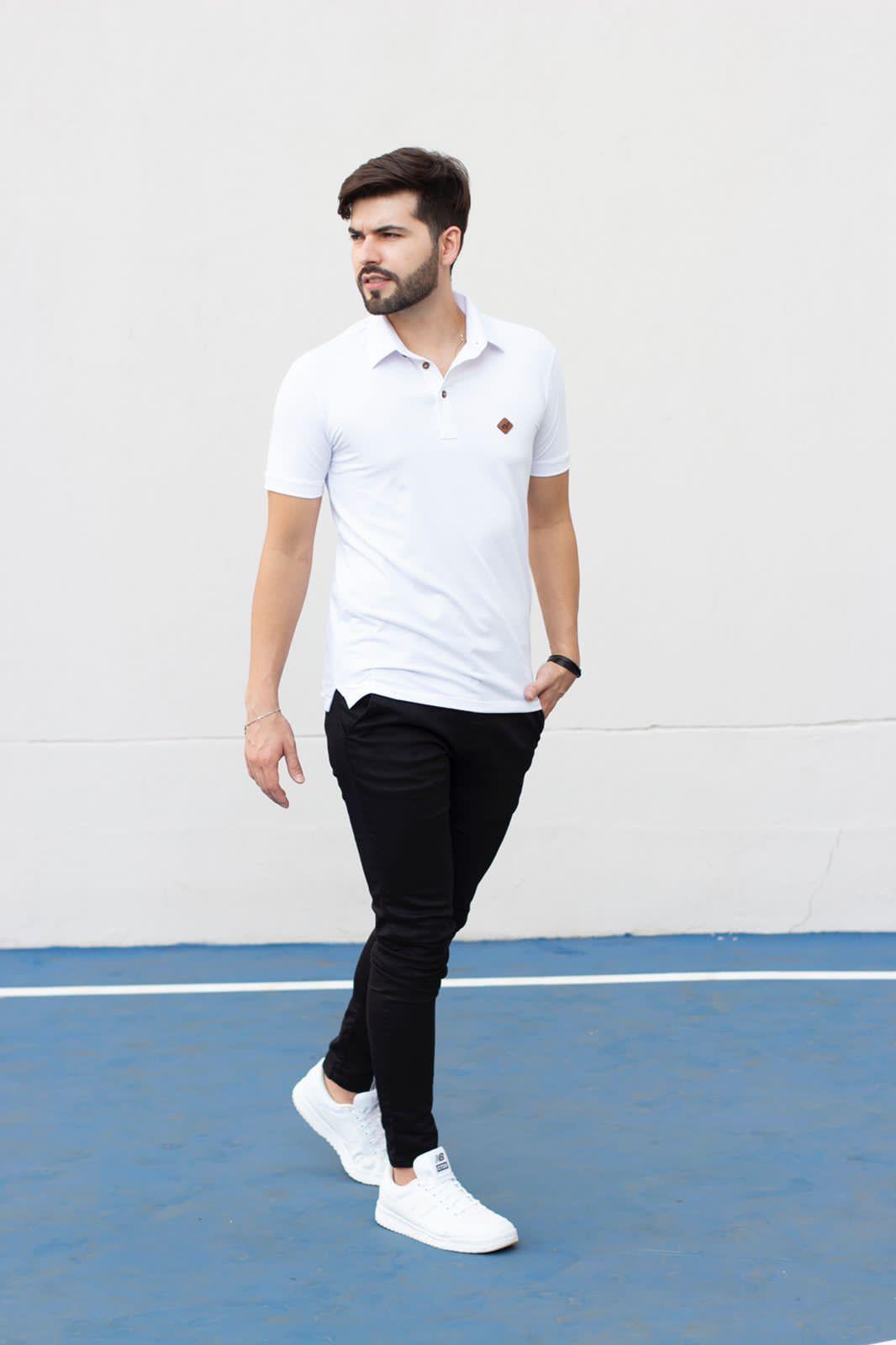 Camiseta Gola Polo Branca Piquet Manguu