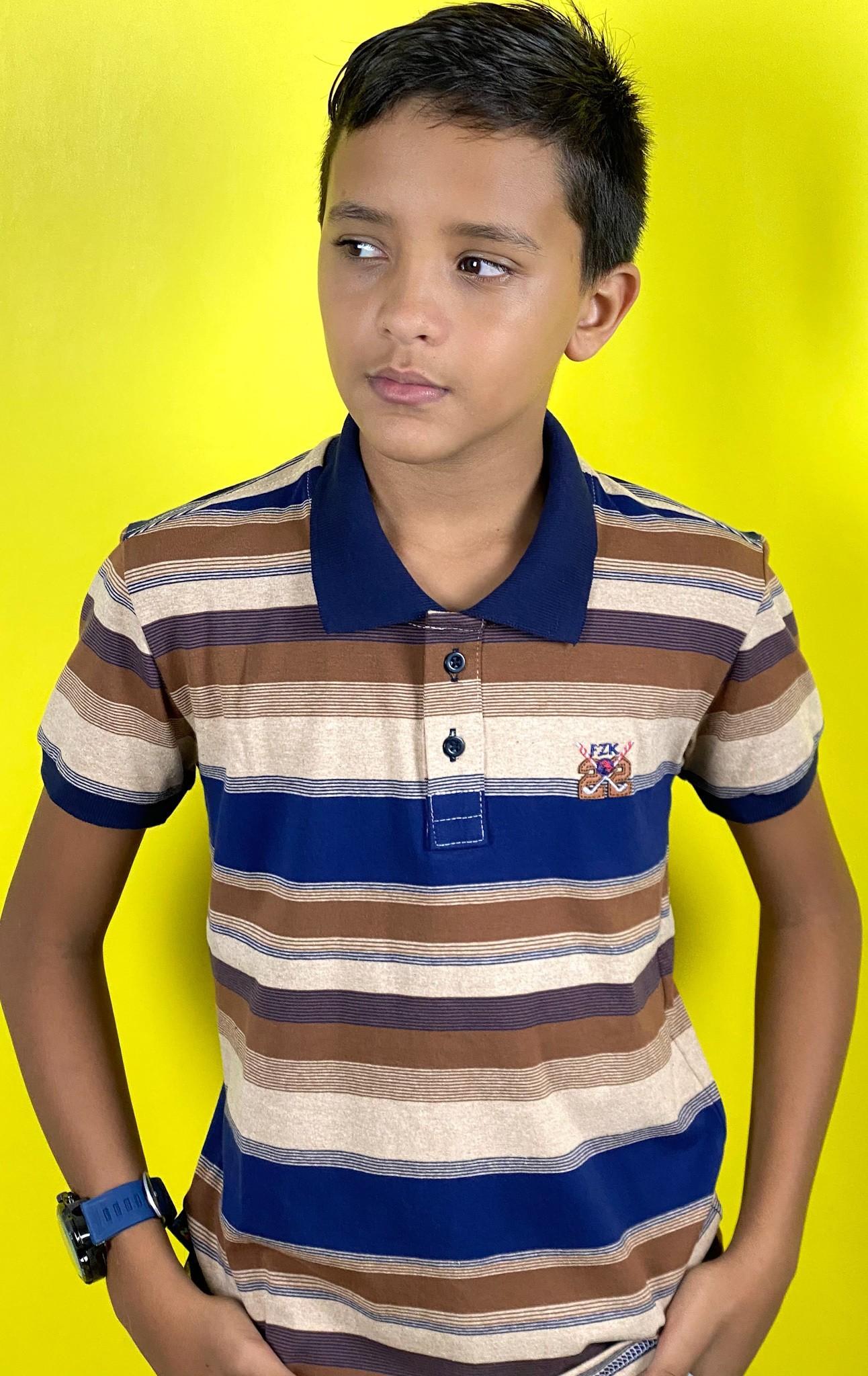 Camiseta Gola Polo de Listras- Fuzzaka Kids