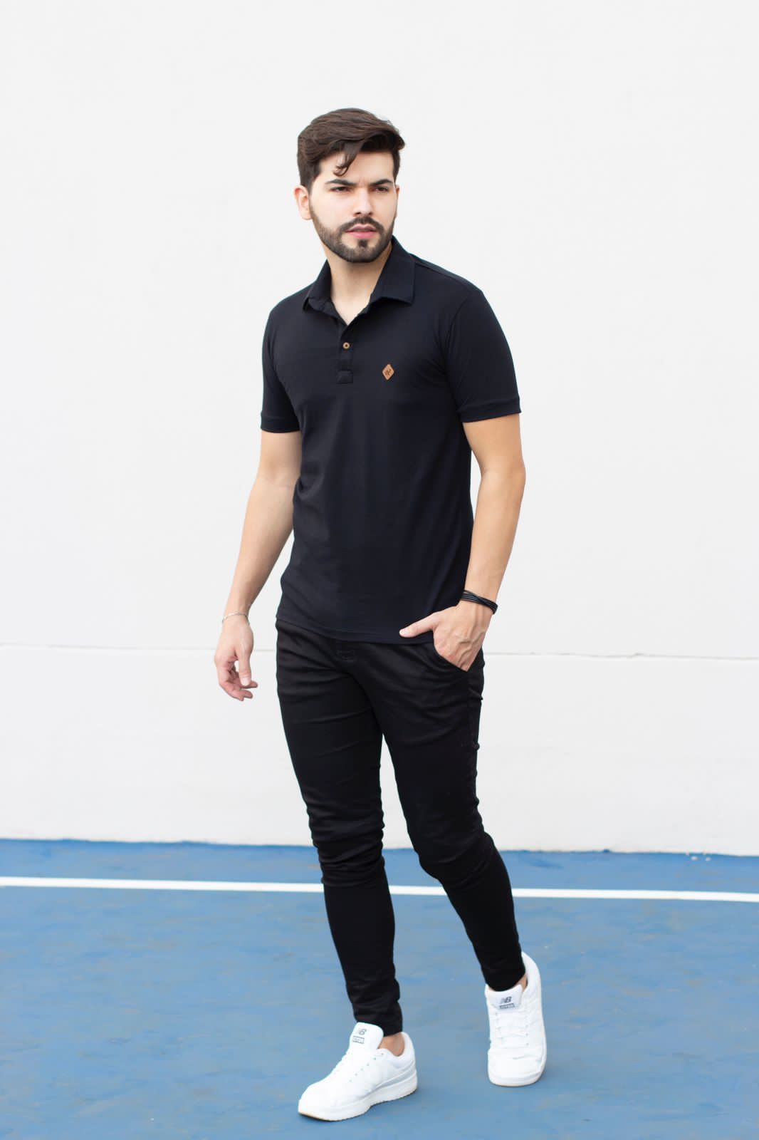 Camiseta Gola Polo Preta Piquet Manguu