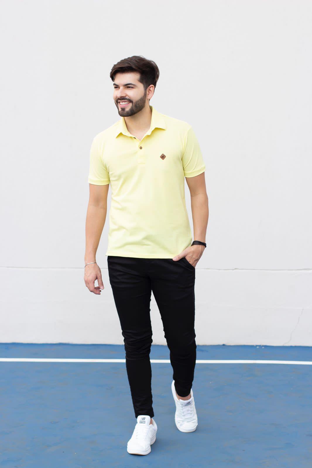 Camiseta Gola Polo Amarela Piquet Manguu