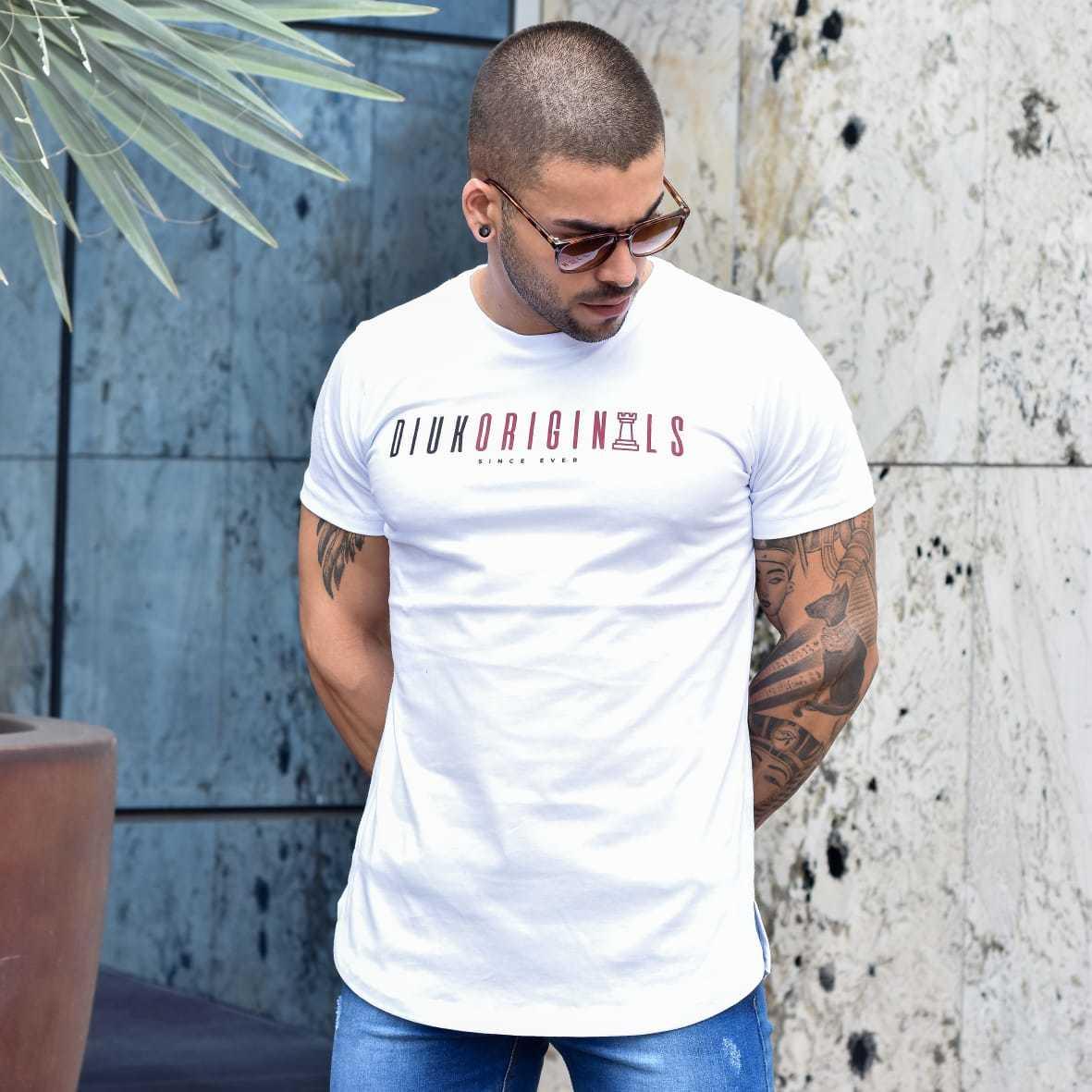 Camiseta Longline Branco Estampa Diuk Originals Burguês