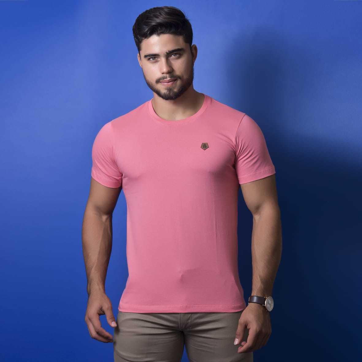 Camiseta Básica Malha 100% Algodão Emblema Bordado Burguês