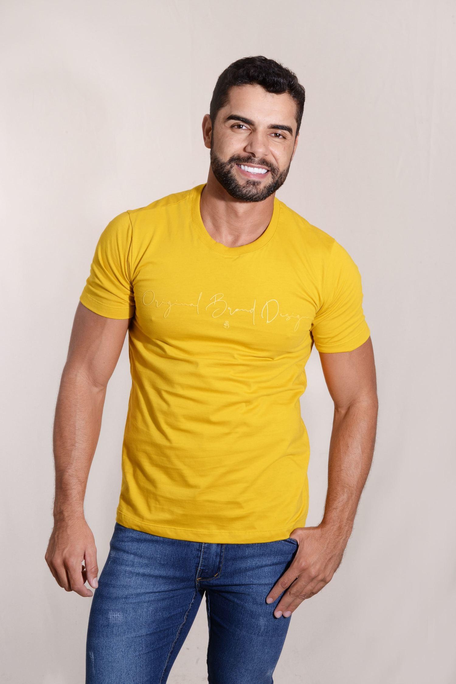Camiseta Original Brand Design Malha 100% Algodão Silk Emborrachado Burguês