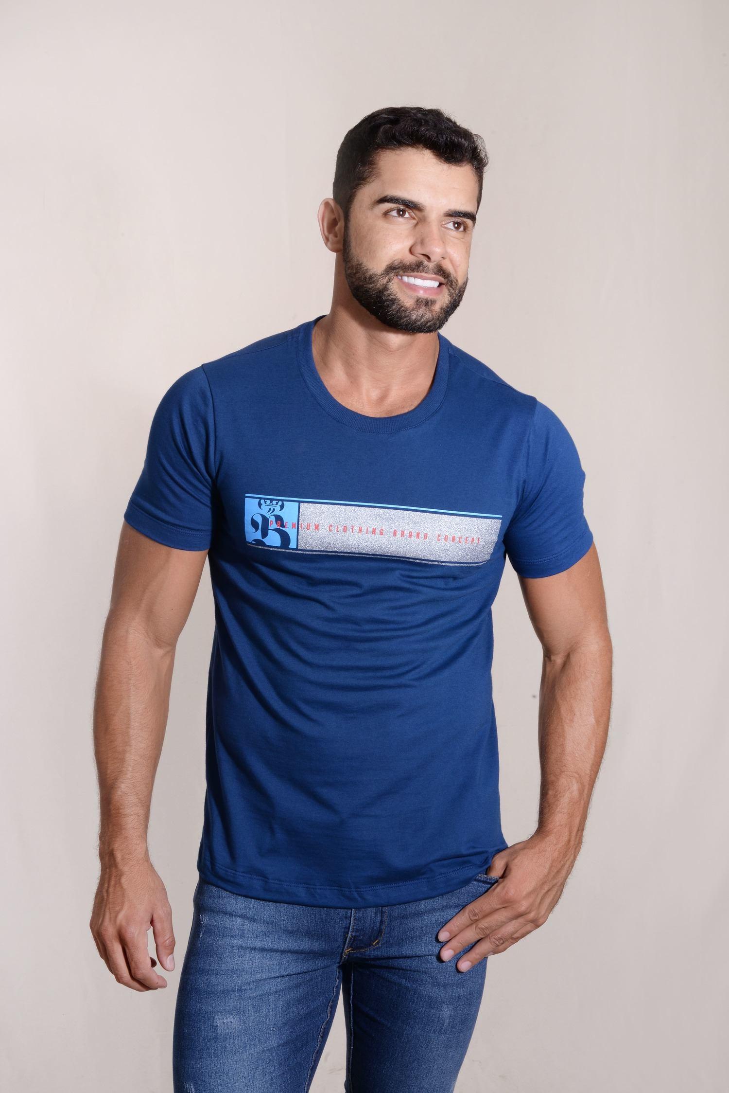 Camiseta Premium Clothing 100% Algodão Silkada Tinta Cromada Burguês