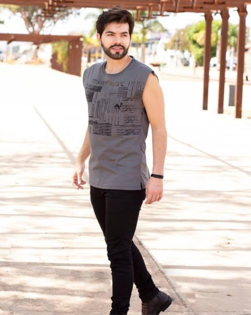 Camiseta Regata Cinza Estampa Texturas Manguu