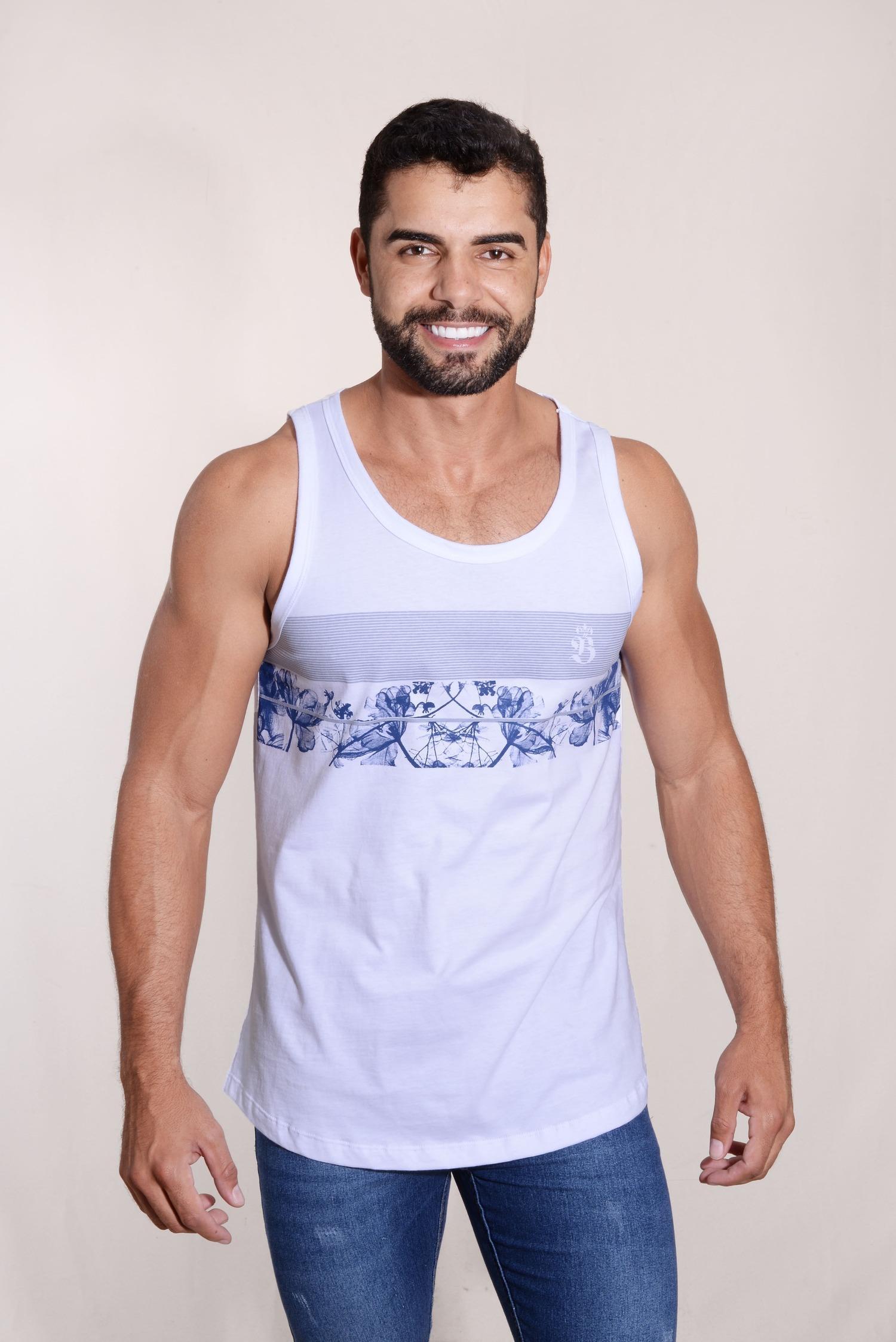 Camiseta Regata Floral Malha 100% Algodão Silk Frontal Burguês