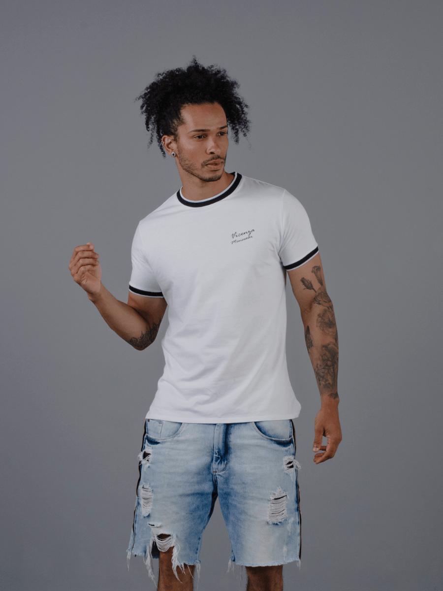 Camiseta Vicenza Masculina 100% Algodão Branca com Listras