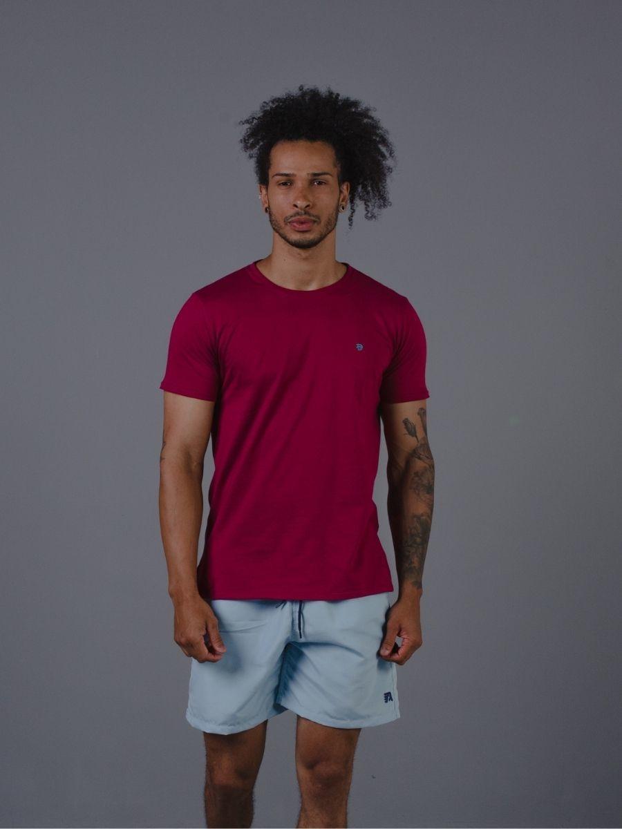 Camiseta Vicenza Masculina Básica 100% Algodão Marsala