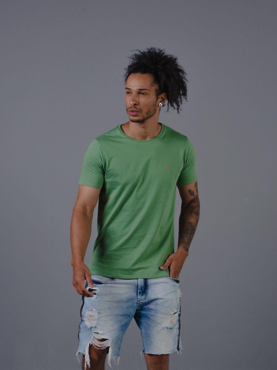 Camiseta Vicenza Masculina Básica 100% Algodão Verde Menta