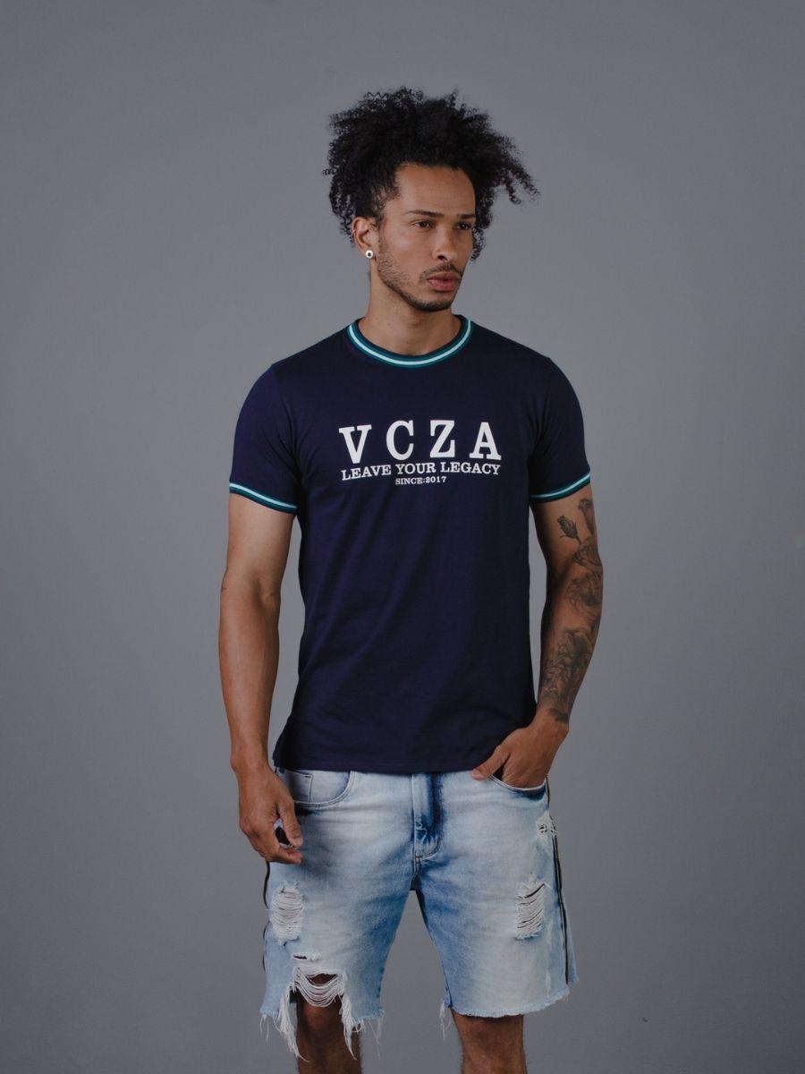 Camiseta Vicenza Masculina VCZ 100% Algodão Azul e Listras