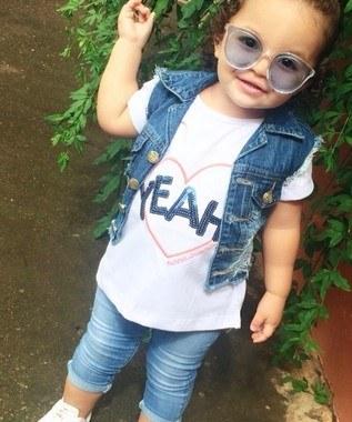 Colete Jeans Infantil -  Feminino - Pimbolim.