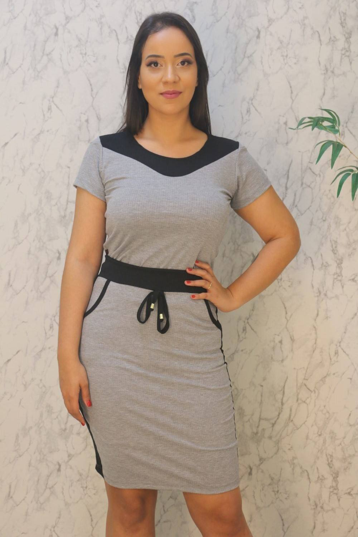 Conjunto Blusa com Decote V e Saia Midi MK Fashion