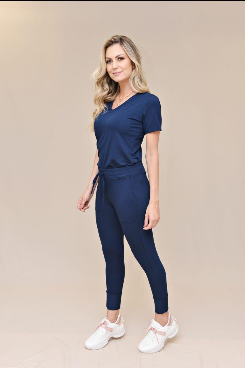 Conjunto Blusa e Calça Azul Marinho  - Bella Cora