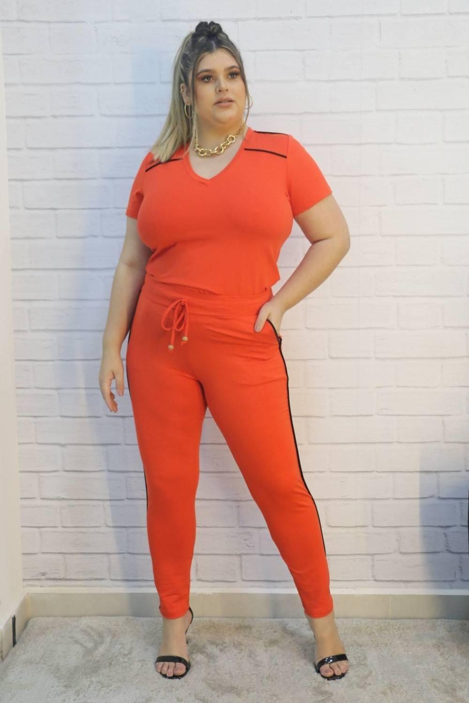 Conjunto Blusa e Calça Moletinho Monalisa Plus Size
