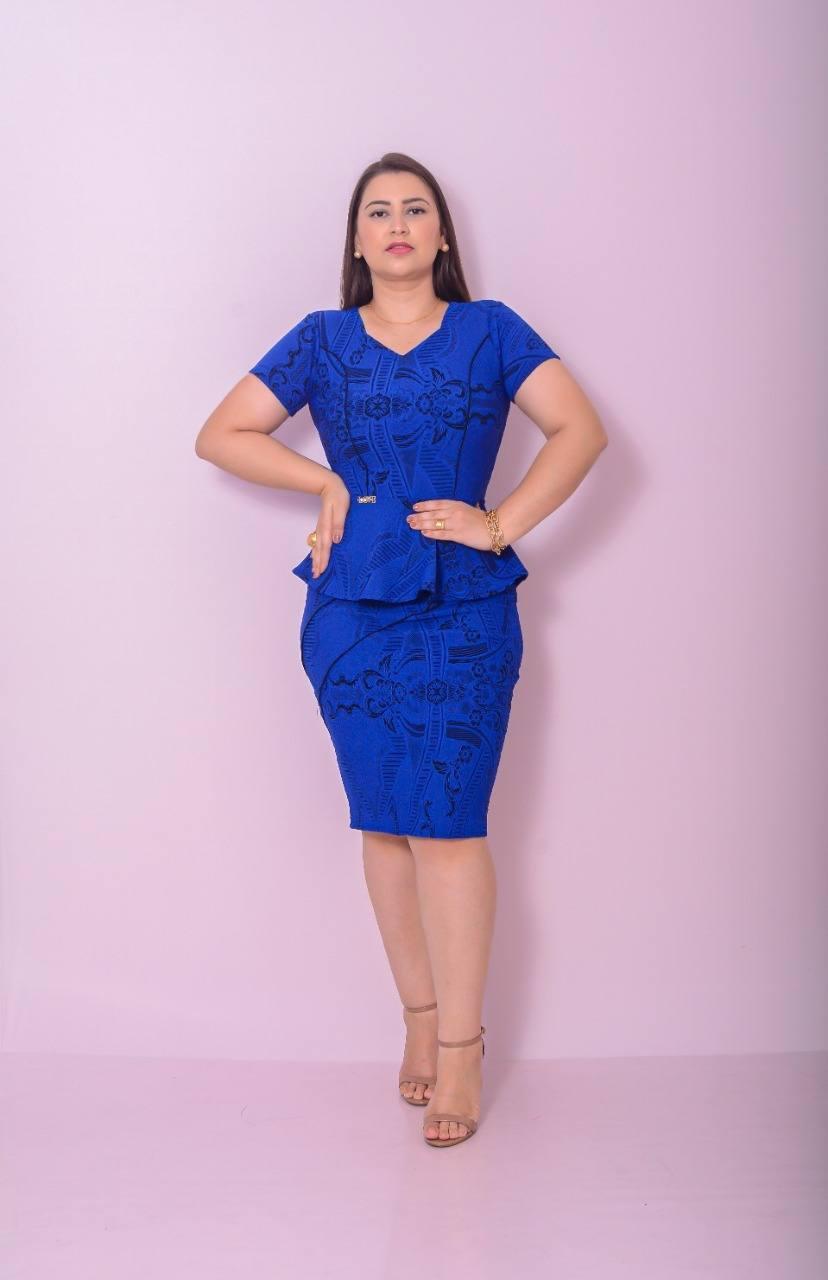 Conjunto Blusa Peplum e Saia Longuete Azul Gesú