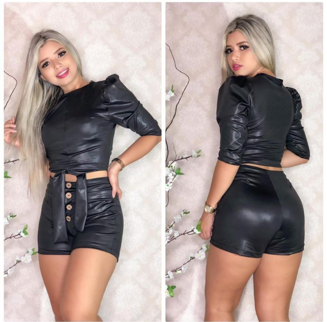 Conjunto Couro Fake - Onix Miami Fashion
