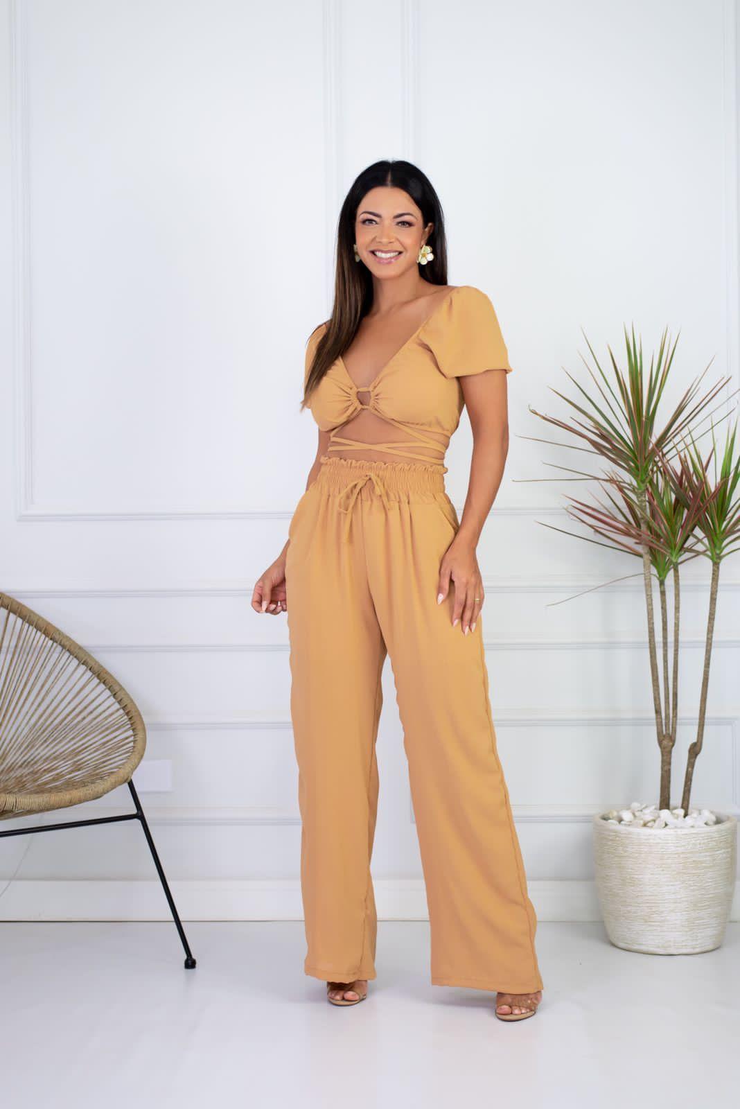 Conjunto Cropped Amarração e Calça Pantalona Amarelo Ocre Lorena Adara