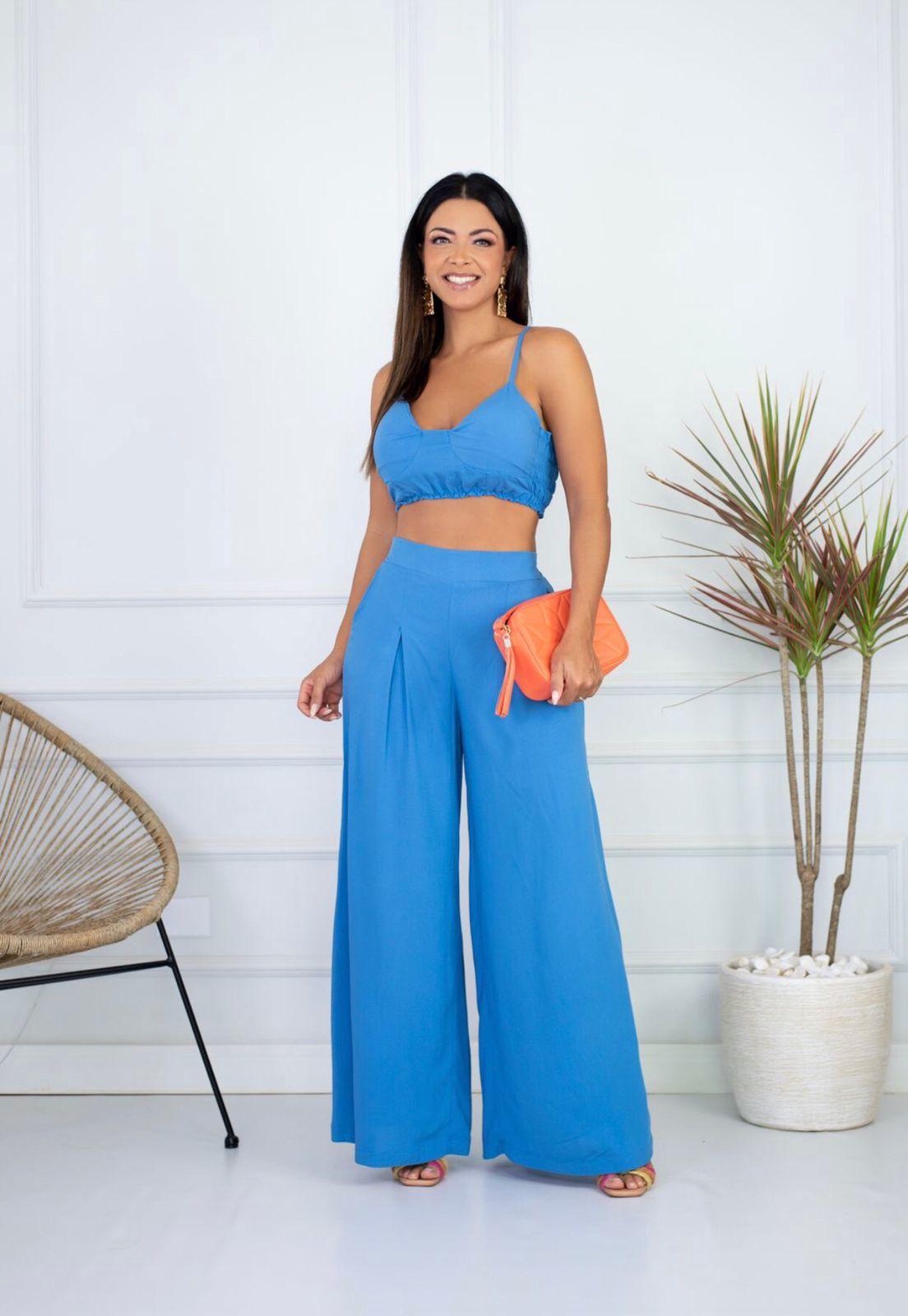 Conjunto Cropped e Calça Pantalona Azul Malu Adara