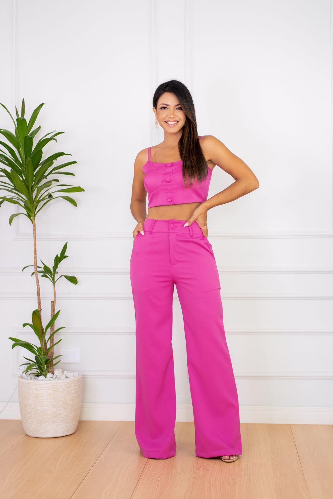 Conjunto Pink Cropped e Calça Wide Leg Alfaiataria Bárbara Adara