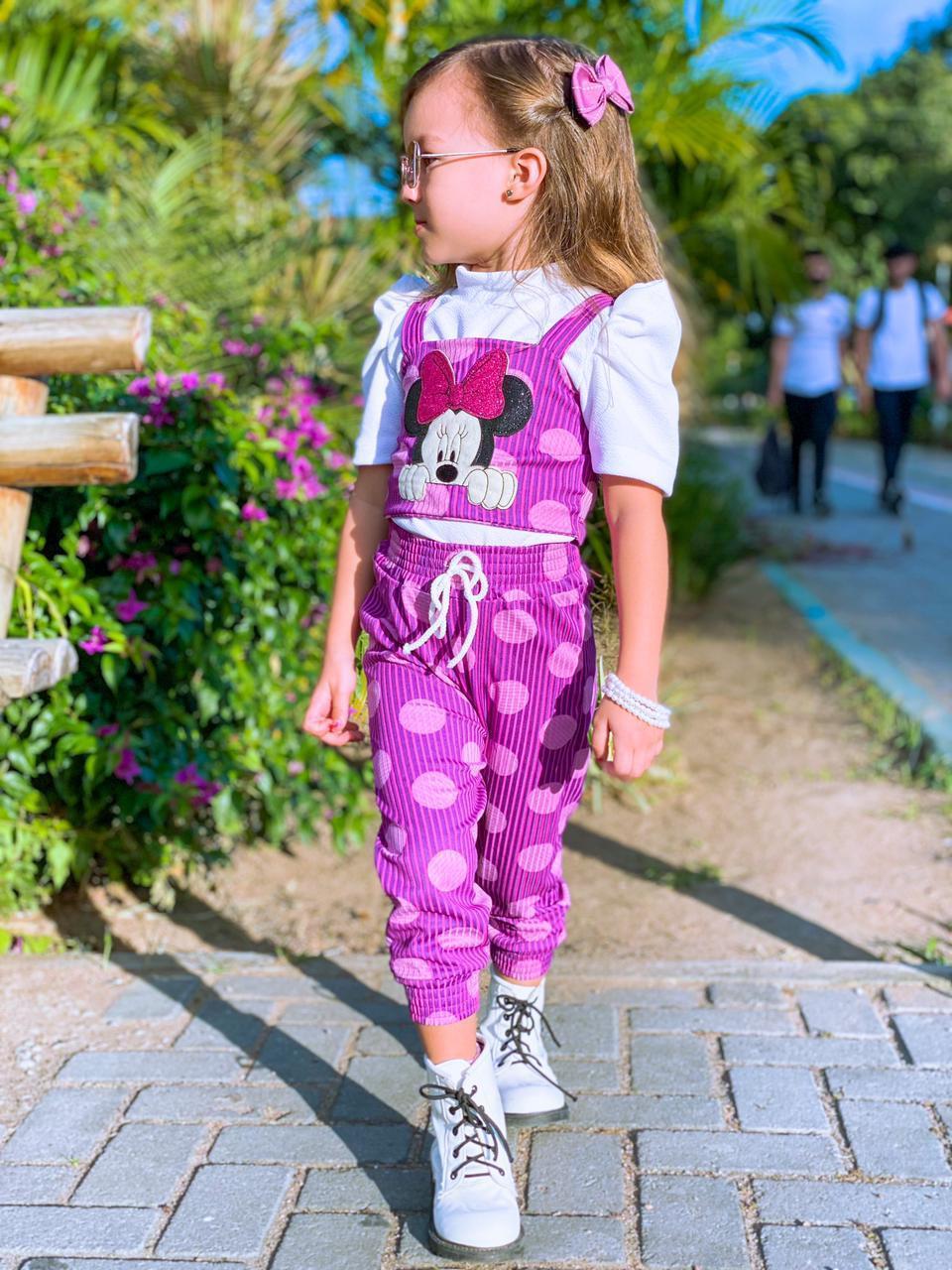 Conjunto Infantil Calça Blusa e Cropped Minnie Passarinho Kids