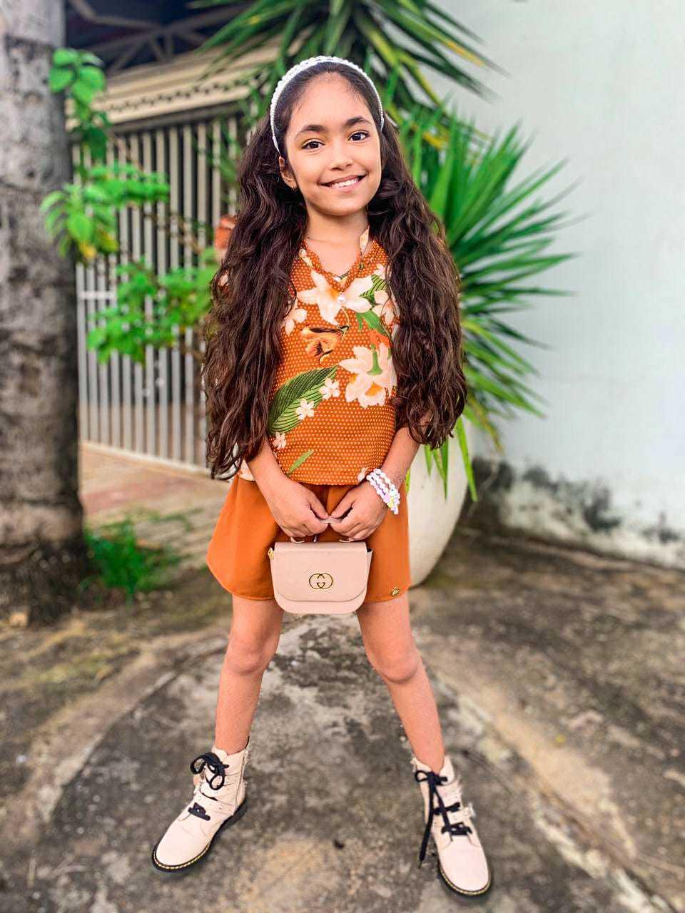 Conjunto Infantil  Blusa e Short Cedinha com Colar De Pérola Daj Kids
