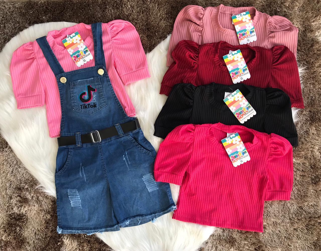 Conjunto Infantil Jardineira Jeans e Blusa Canelada Passarinho Kids
