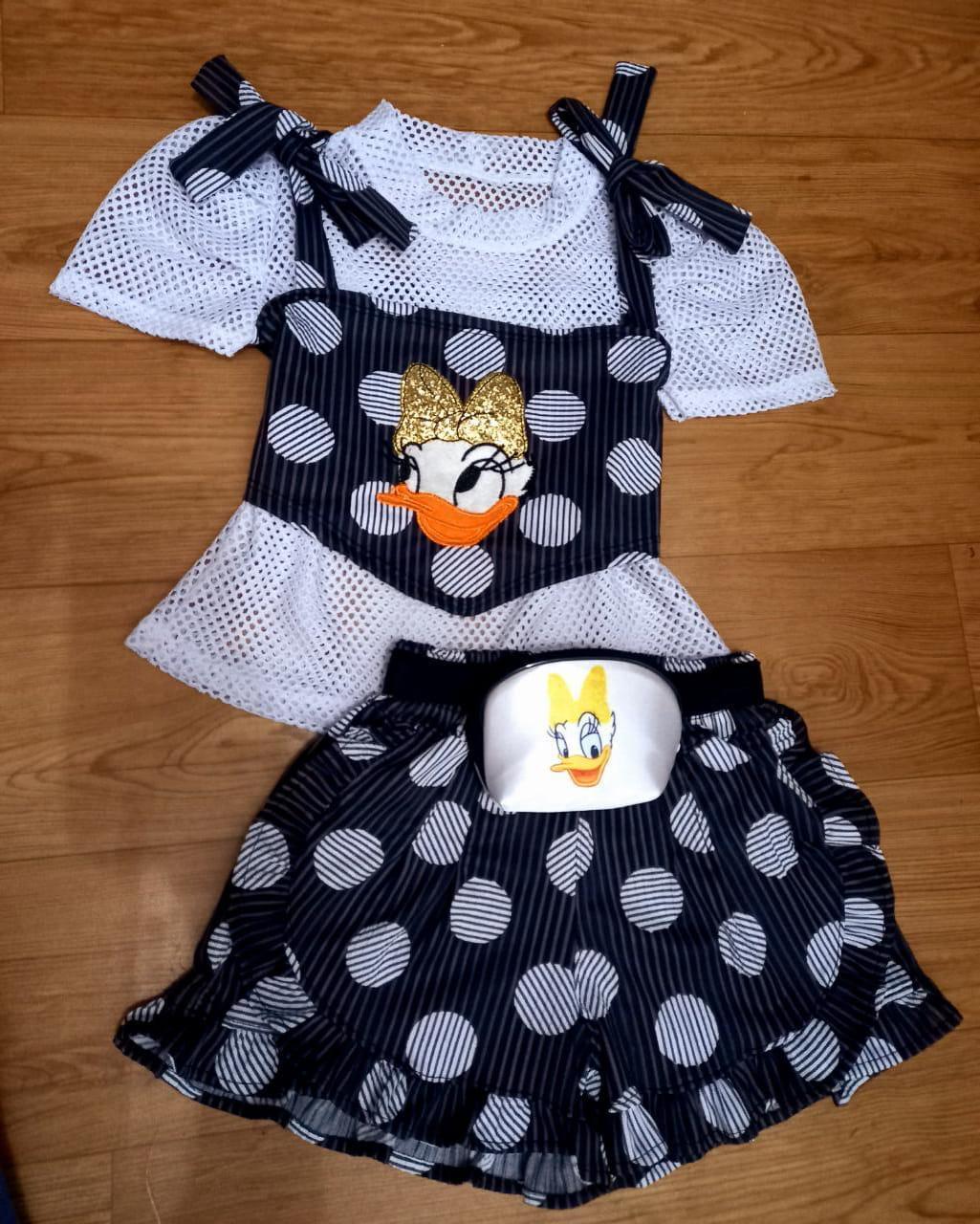 Conjunto Infantil Short Blusa de Tela e Cropped Passarinho Kids
