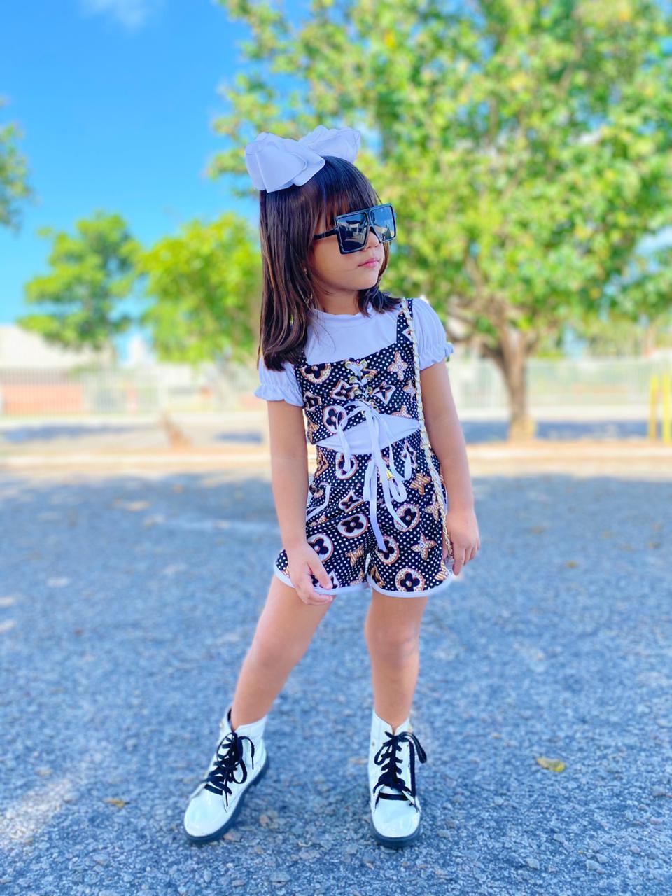 Conjunto Infantil Short e Blusa 2 em 1 Blogueirinha Passarinho Kids