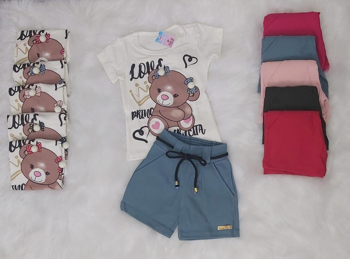 Conjunto Infantil Short e T-Shirt Urso Passarinho Kids