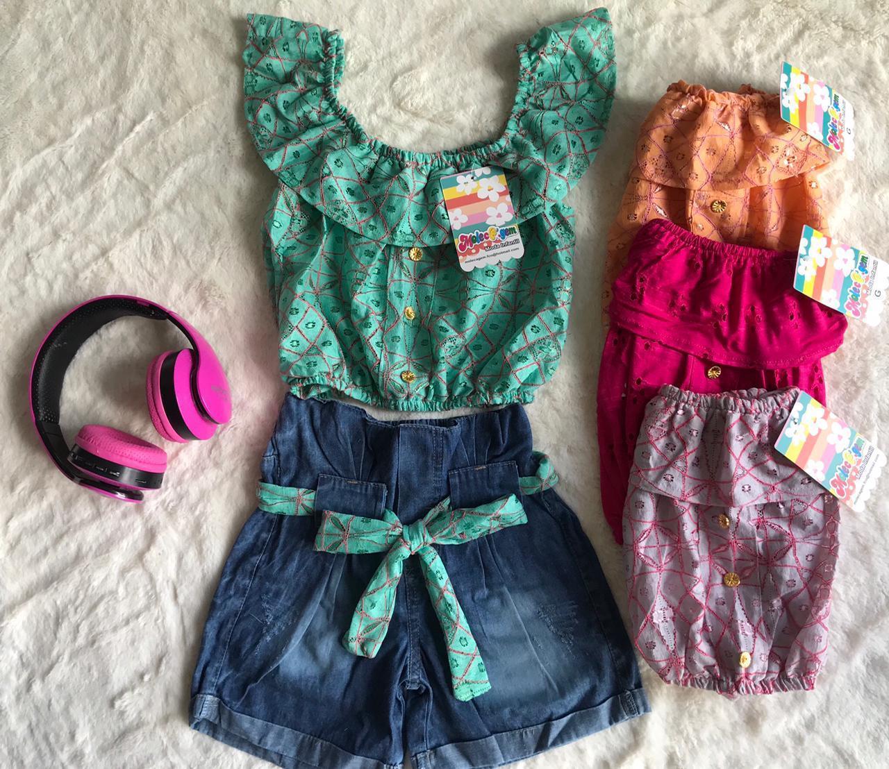 Conjunto Infantil Short Jeans e Cropped Estampado Passarinho Kids