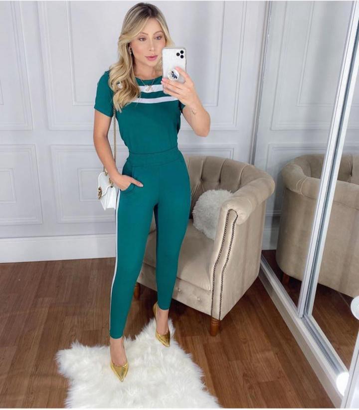 conjunto moletinho verde com listra - Lollita Fashion