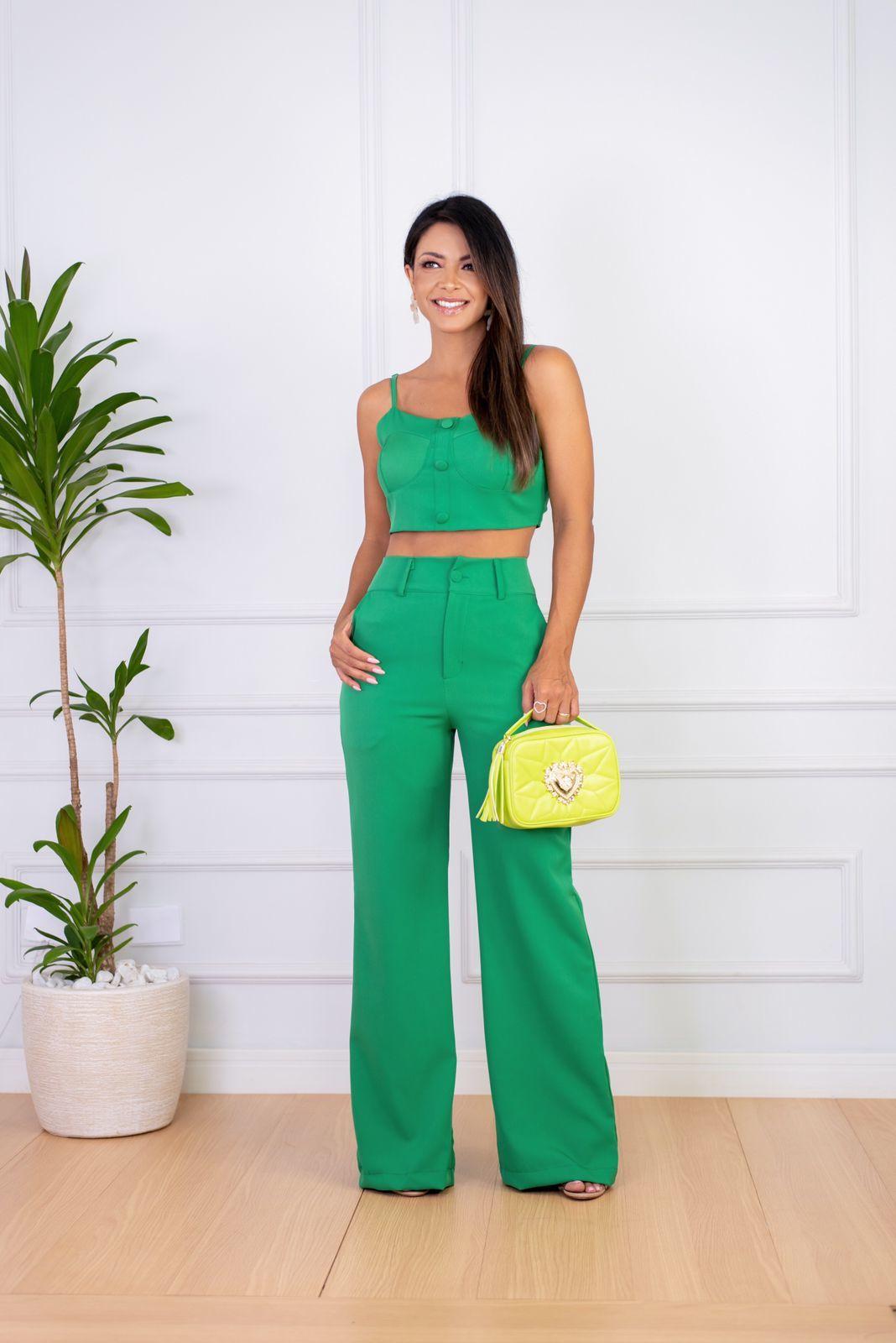Conjunto Verde Cropped e Calça Wide Leg Alfaiataria Bárbara Adara