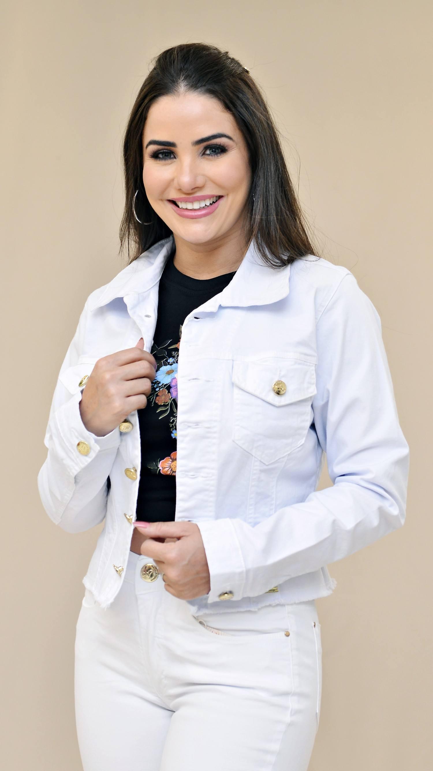 Jaqueta Jeans Branca Nathalie Ferrier