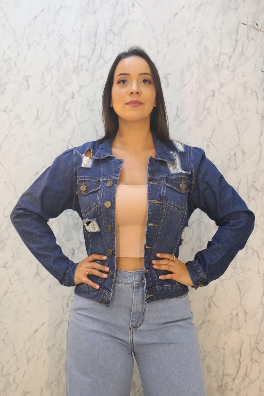 Jaqueta Jeans Feminina Olho Grego 100% Algodão Ico's