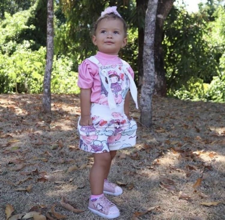 Jardineira Piquet - Aires Modas Mãe e filha