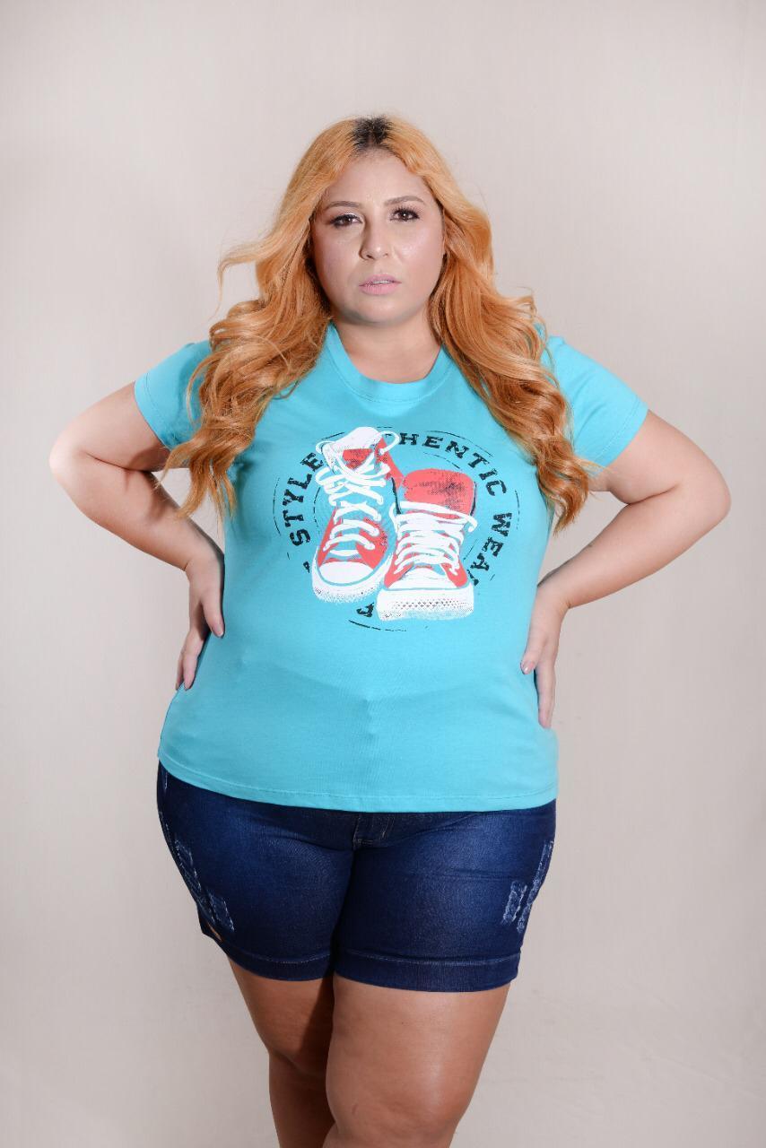 Kit 3 Blusas T-Shirts Plus Size Estampas e Cores Variadas Vitória D'ellas